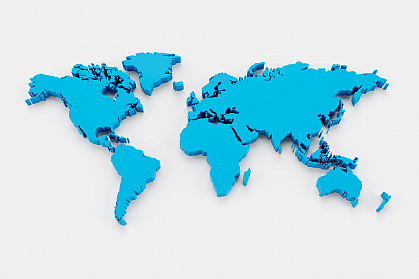 Three-dimensional world map in blue on a white background.