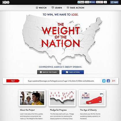 "Screenshot of HBO's ""The Weight of the Nation"" website."