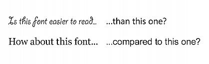 Comparison of several decorative, serif, and sans-serif font styles for legibility.