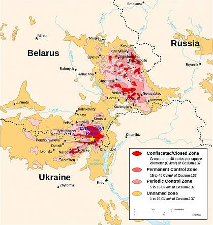 Map of radiation levels around Chernobyl