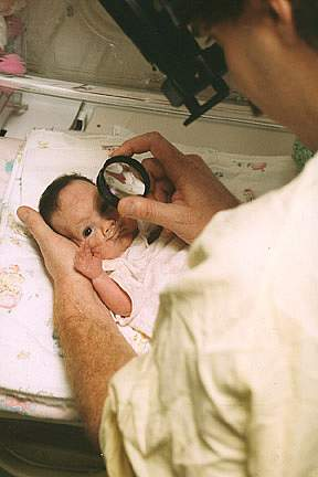 Newborn eye exam.