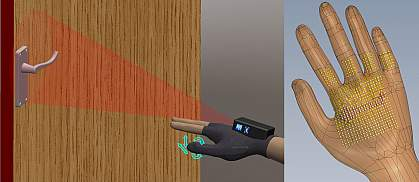 Illustrations of a hand assistive device