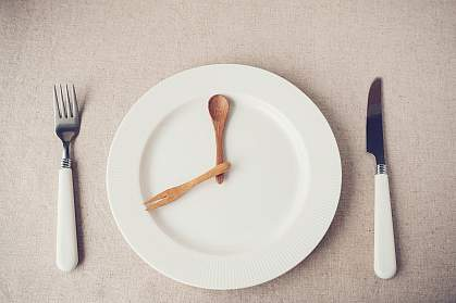 White plate with knife and fork representing hands of a clock.