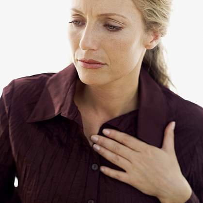 photo of a woman with chest pain