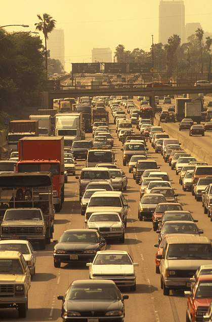 A congested and polluted city highway