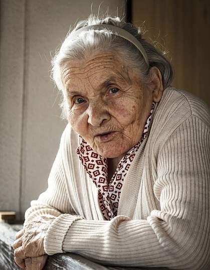A photo of an elderly woman
