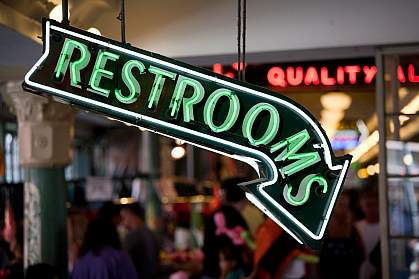 Photo of a restroom sign
