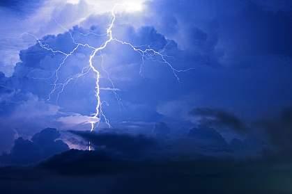 A stormy sky with lightning