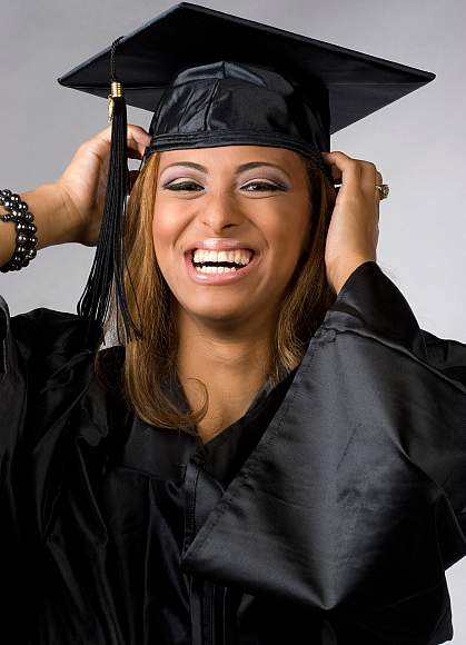 Photo of a female college graduate smiling