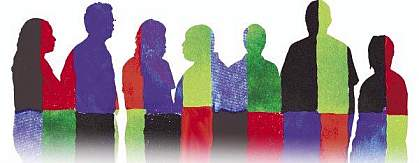 Silhouettes of people in diverse primary colors