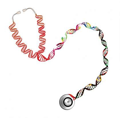 Illustration of a stethoscope with its rubber tubing replaced by DNA's double helix