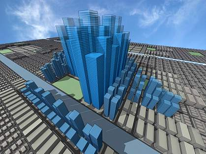 Computer generated model of a virtual city