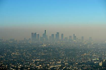 City shrouded in air pollution.