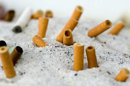 Photo of cigarettes snuffed out in a communal ashtray