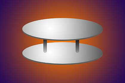 Illustration of two metal discs with spacers separating them