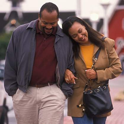 Photo of an African-American couple walking together - cropped