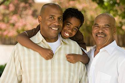 Photo of three generations of African American males
