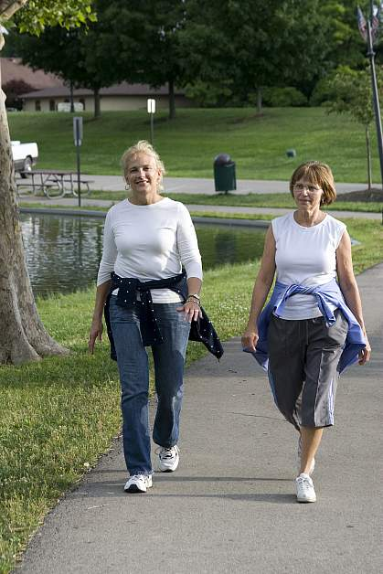 Photo of two women walking