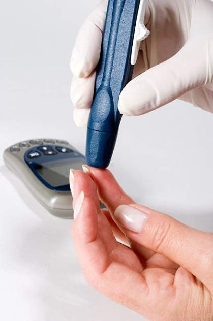 Photo of a finger-prick test for diabetes