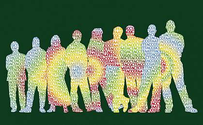 Silhouettes of people filled with DNA sequence