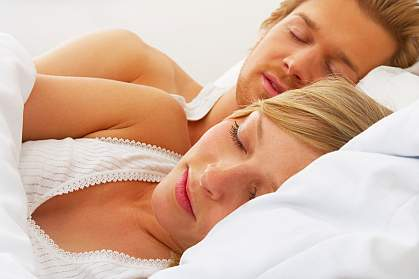 Photo of a sleeping couple