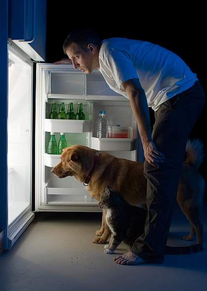 photo of a man and his dog looking into a refrigerator late at night