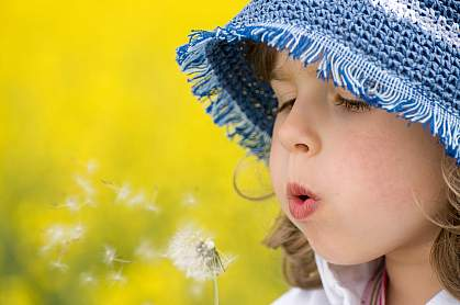 Photo of a girl blowing on a dandelion