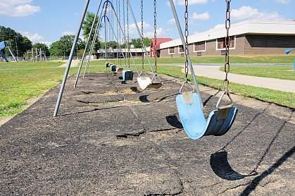 Photo of empty swings outside an elementary school