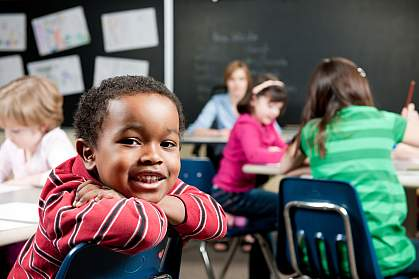 Photo of a young boy at school