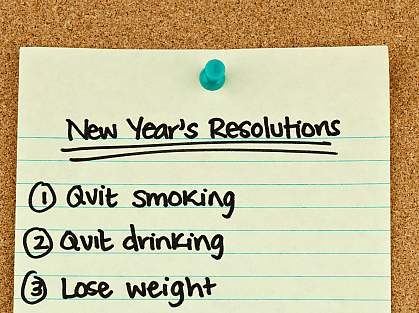 hoto of a handwritten list that says: 1. Quit Smoking, 2. Quit Drinking, 3. Lose Weight.
