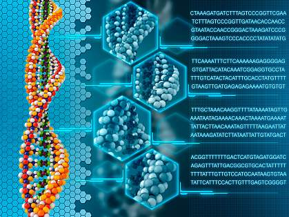 Illustration of a DNA double helix with insets showing close-up views of amino acids within.