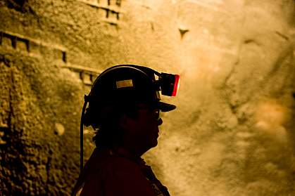 Woman in a mine.