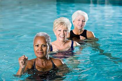 Women exercising in pool.