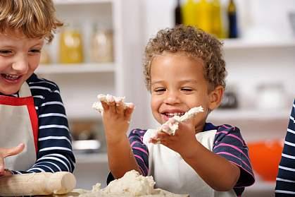 Toddlers baking.