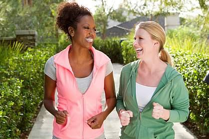 Women walking and talking.