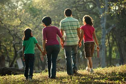 Rear view photo of a family walking together in a park.