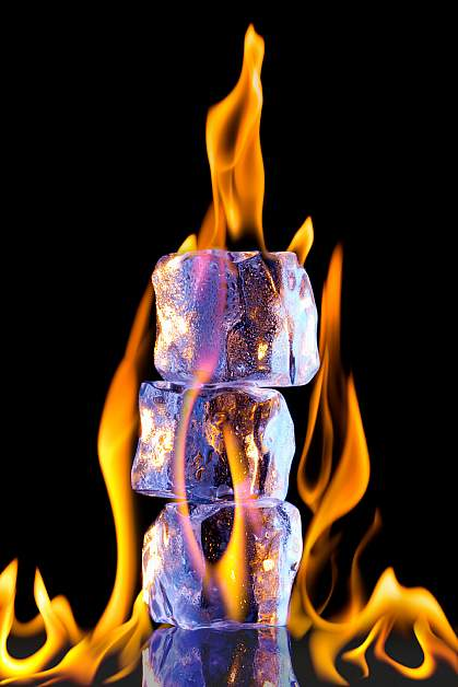 Photo of fire engulfing a stack of marshmallows.