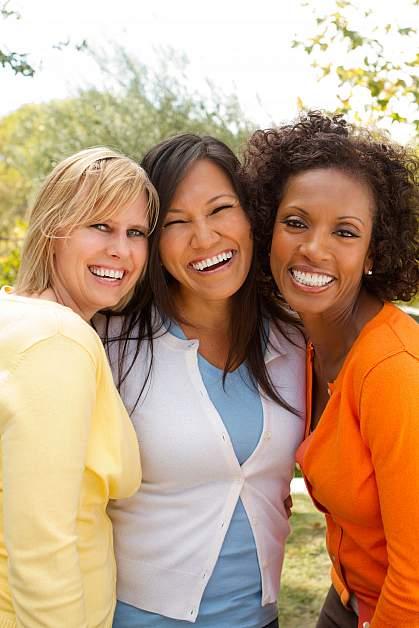 Diverse group of happy women friends.