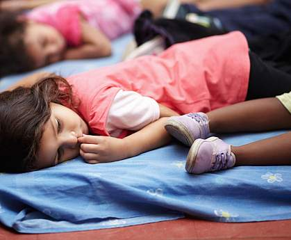 Children napping in preschool.