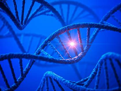 DNA with bright spot representing a mutation.