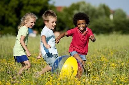 Children playing ball.