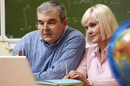 Senior couple studying together.