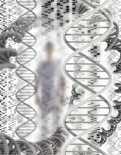 DNA sequence and helix models, with a man in the background.