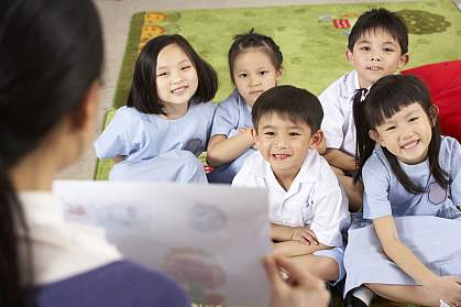 Teacher with students in Chinese classroom.
