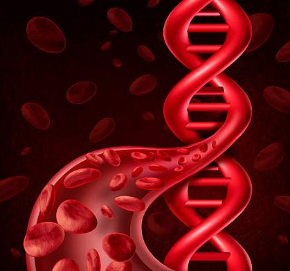 Illustration of DNA, blood cells, and a blood vessel.