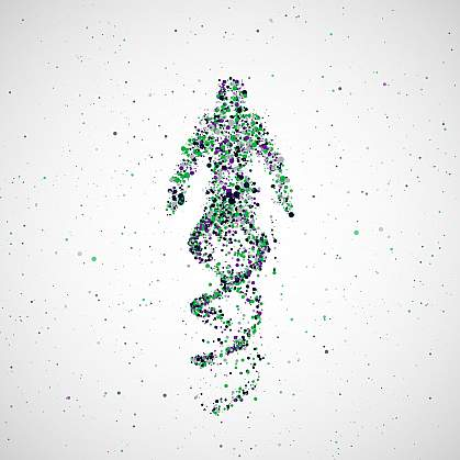 Illustration of person made of DNA.