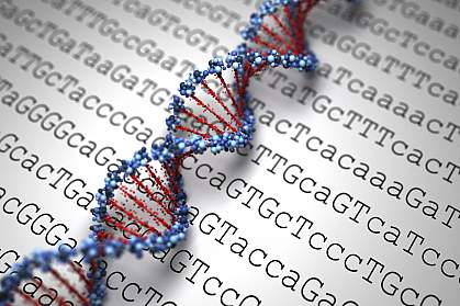 Illustration of DNA on a background of genetic code.