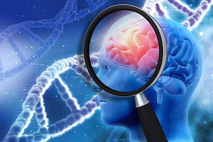 Illustration of a magnifying glass examining a human brain with a DNA background.