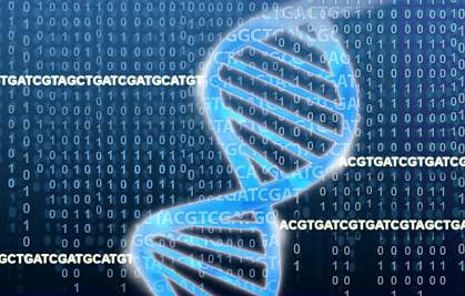 DNA double helix rests on a field of ACGTs and binary numbers.