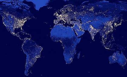 Lights on Earth at night